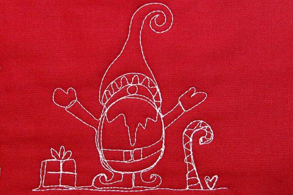 machine quilt gnome motif 12