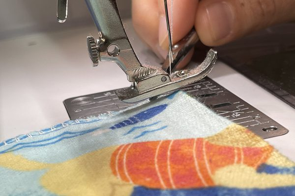 Reusable Towels Tutorial: Pivot fabric step one