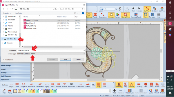 Multicolor Embroidery: Save and import the file into the machine