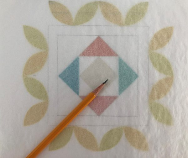 Passiflora Quilt Along_7_16_Tracing_Paper_Over_Center_BERNINA_WeAllSew_Blog_1200x1007px