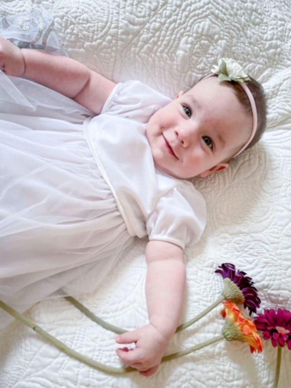 Wedding Dress to Christening Gown Tutorial Part Three 1 BERNINA WeAllSew Blog 1200 x 800 Baby in Christening Gown