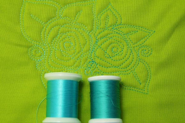 Similar color, high and low sheen thread