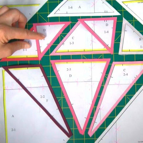 Gemstone block freezer paper piecing BERNINA WeAllSew 600 x 600 MJ Kinman