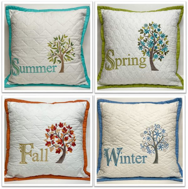 Seasonal pillows with quilted backgrounds and embroidery